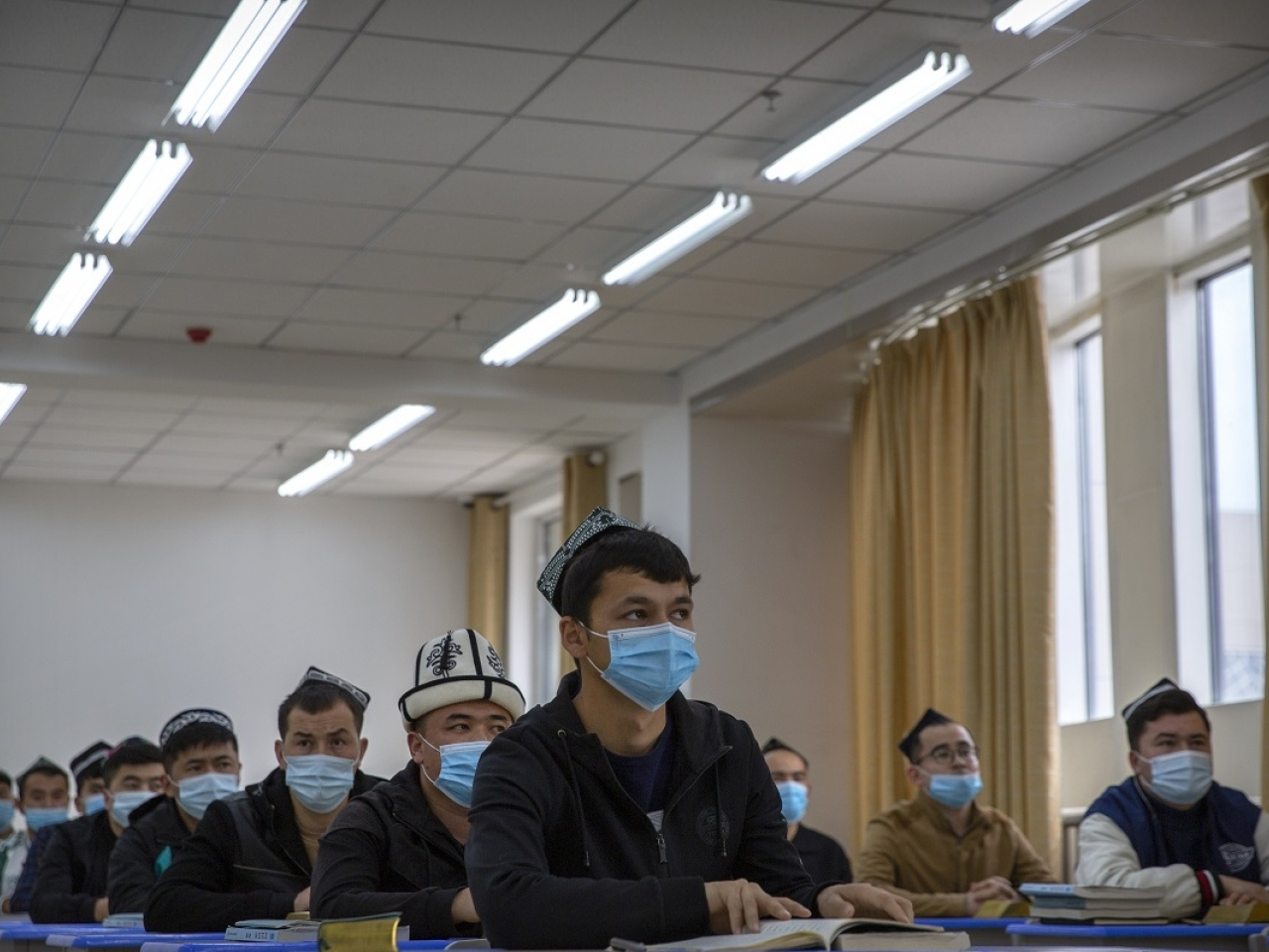 Uyghurs and other students attend a class at the Xinjiang Islamic Institute during a government organized visit for foreign journalists in Urumqi. Critics have accused Xinjiang authorities of torturing Uyghurs and other minorities. File photo: AP
