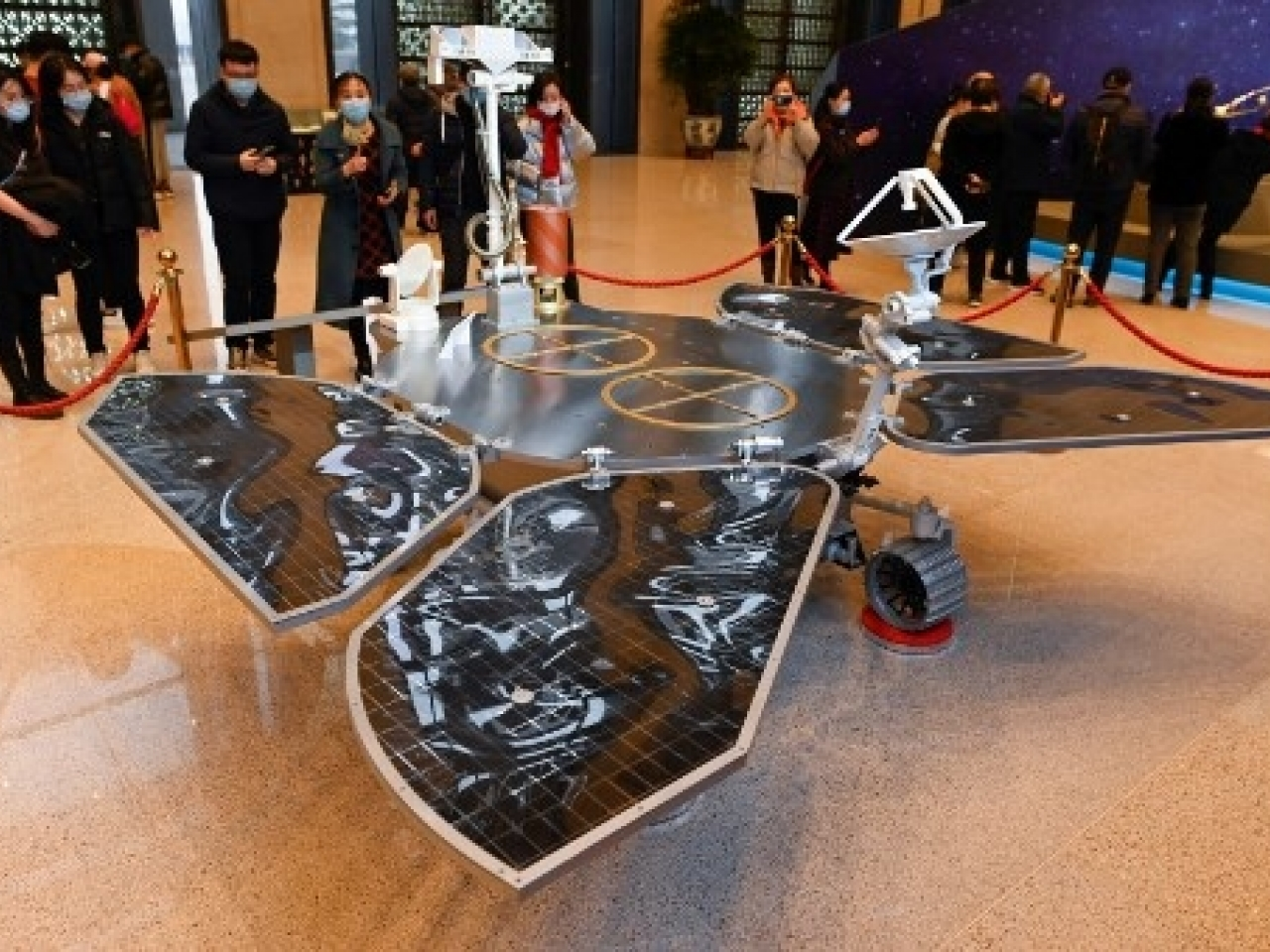 A model of the Tianwen-1 Mars rover on display during an exhibition at the National Museum of China in Beijing. File photo: AFP