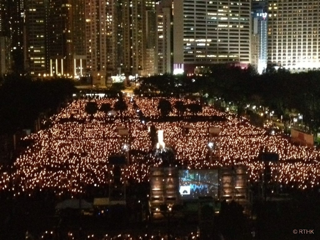 The June 4th candlelight vigil has attracted tens of thousands of people in previous years. File photo: RTHK