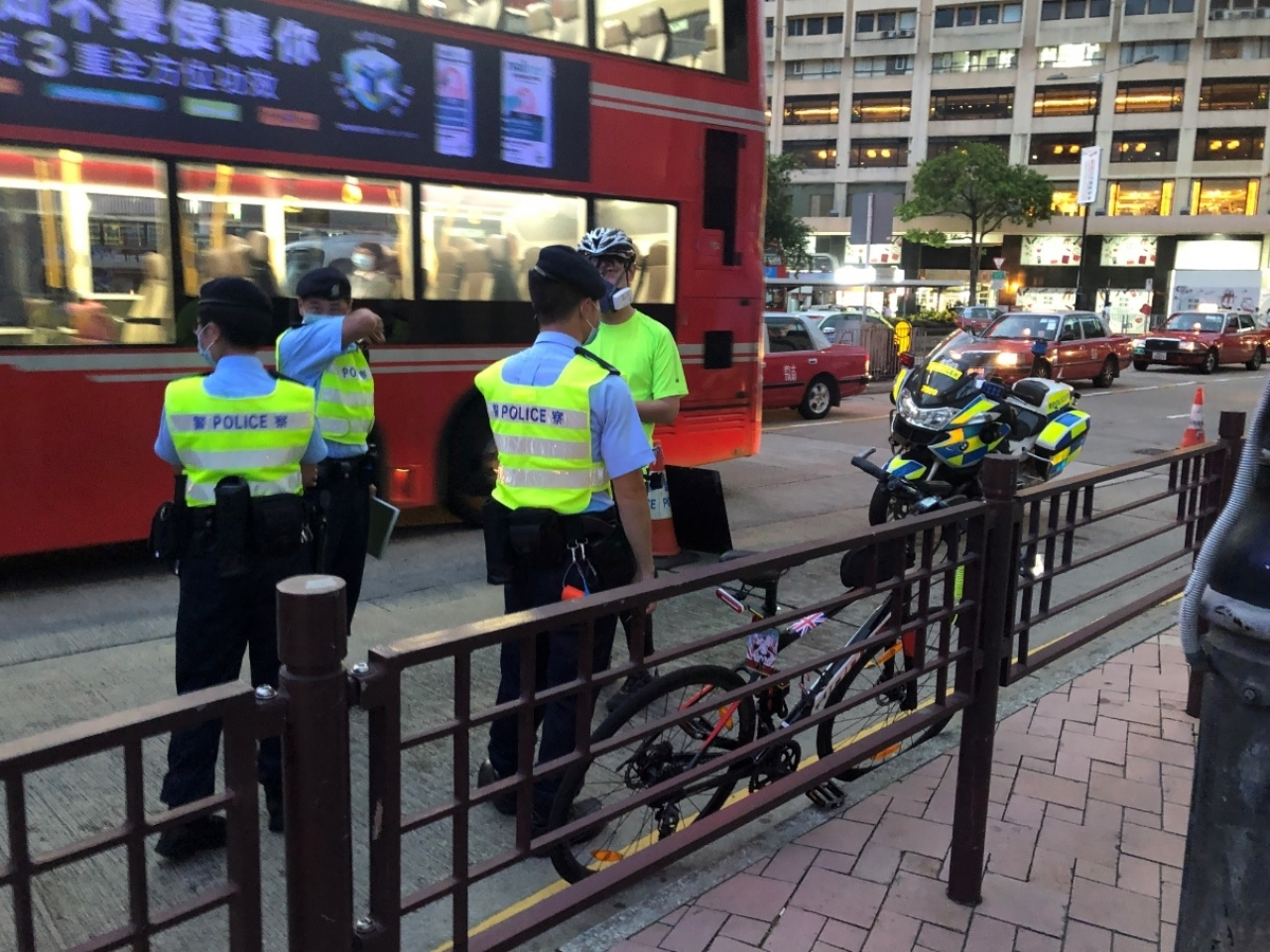 According to the Hong Kong Cycling Alliance, 15 cyclists turned up for the 'Ride of Silence', and there was a very heavy police presence with around 60 officers at Tsim Sha Tsui. Photo supplied by Transit Jam