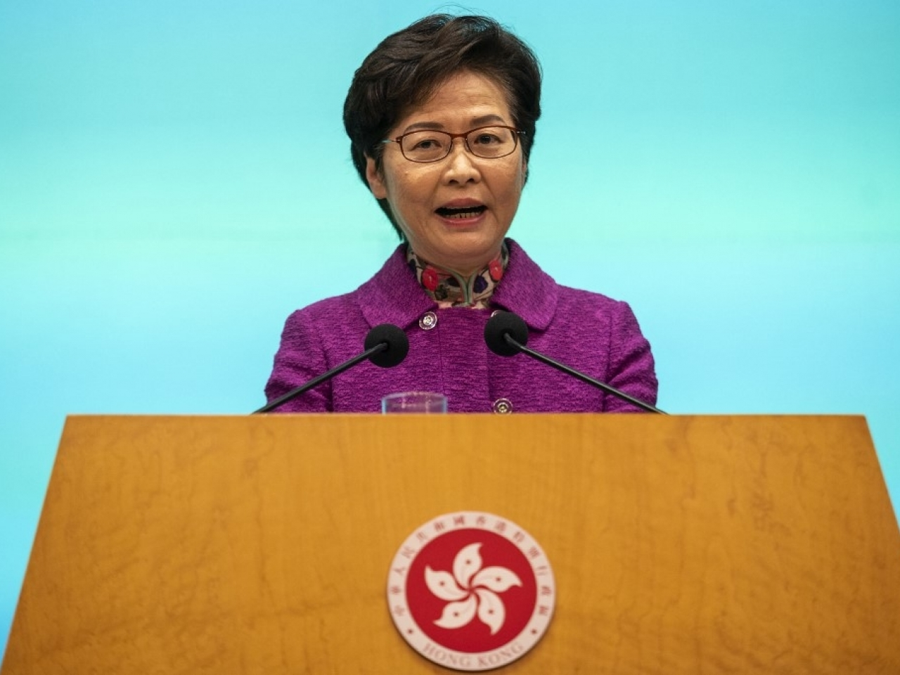 Carrie Lam was full of praise for her colleagues, Legco and the public, but had a few harsh words for foreign politicians and media. File photo: AFP