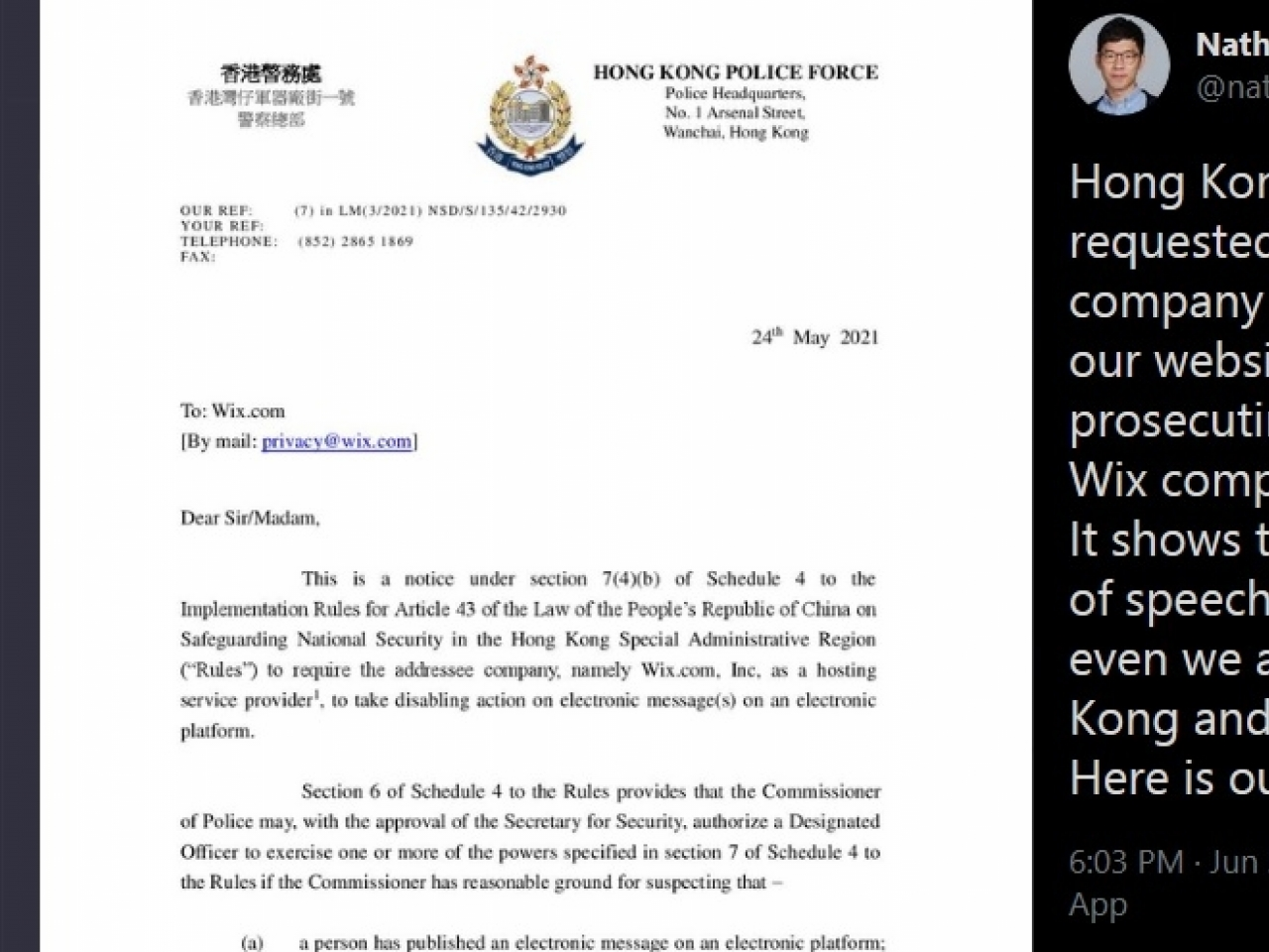 Nathan Law earlier questioned on Twitter whether the website was removed at the request of Hong Kong's national security police.
