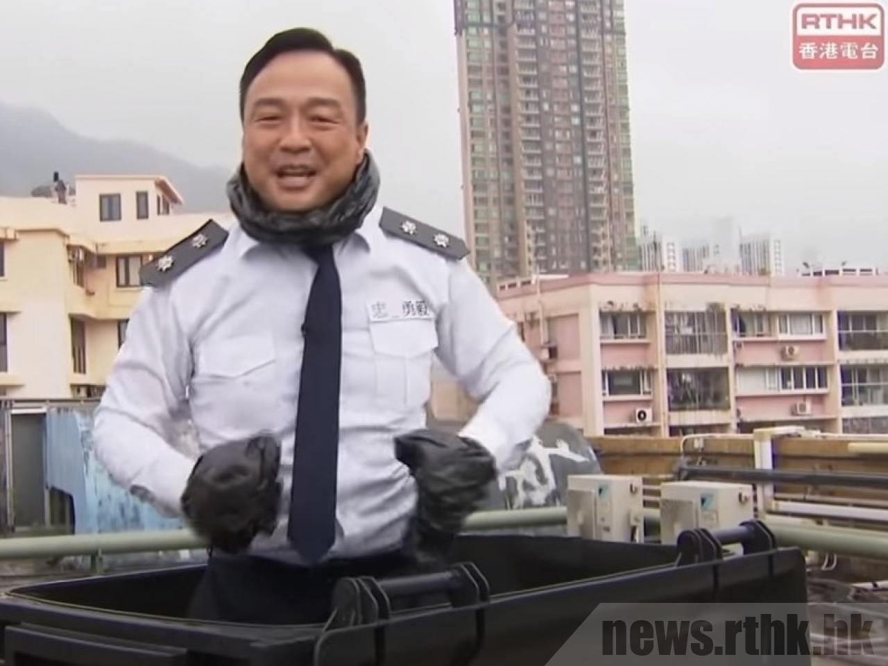 The High Court heard that it was plainly insulting to the police when the host of RTHK's Headliner show emerged from a rubbish bin dressed as an officer.