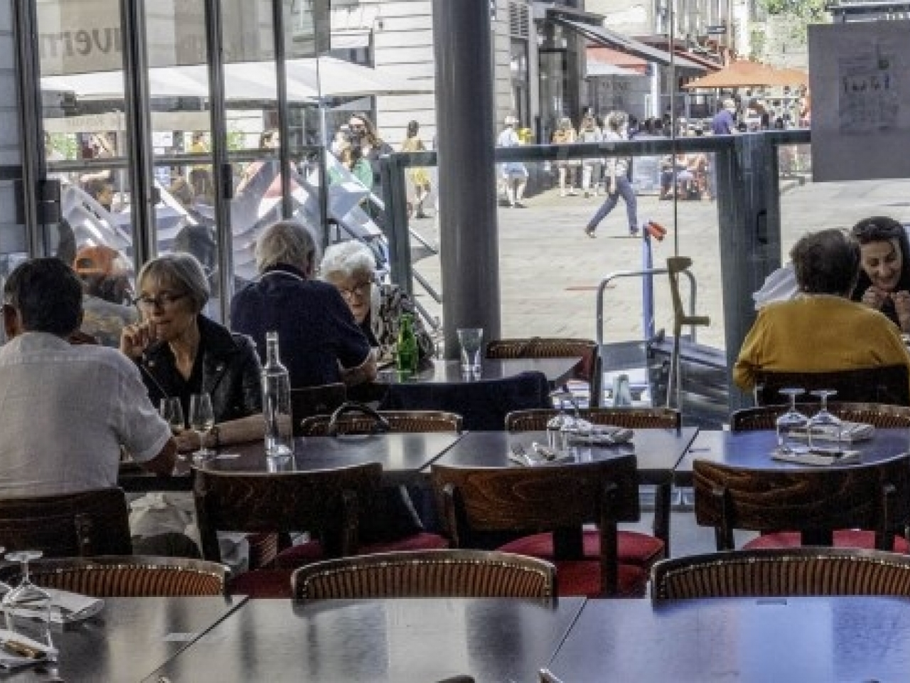 Diners enjoy their meals at a restaurant in Nantes as France tries to emerge from the Covid pandemic. Photo: AFP