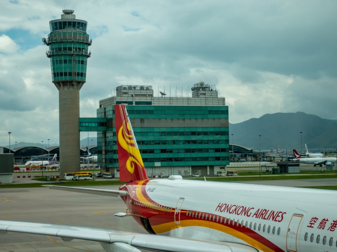 A Hong Kong Airlines jet at the airport. The airline will operate a reduced fleet for the year ahead. Image: Shutterstock