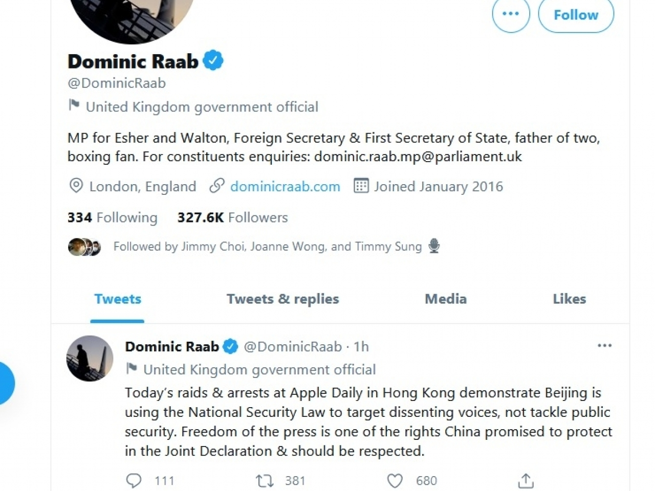 Dominic Raab says on Twitter that China had used the national security law to target dissent rather than deal with public security.