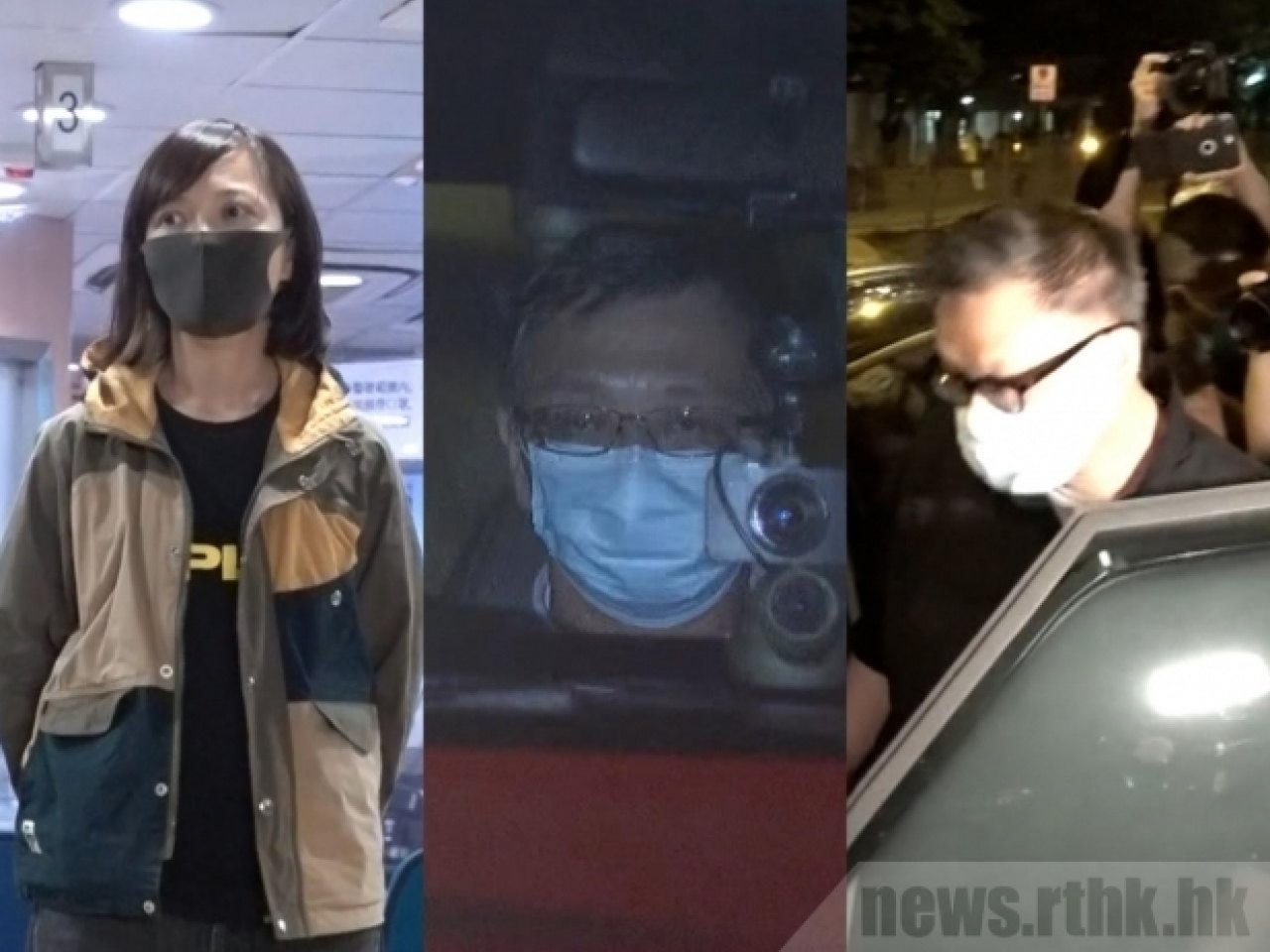 Associate publisher Chan Pui-man, chief operating officer Chow Tat-kuen and chief executive editor Cheung Chi-wai leave the police station. Photo: RTHK