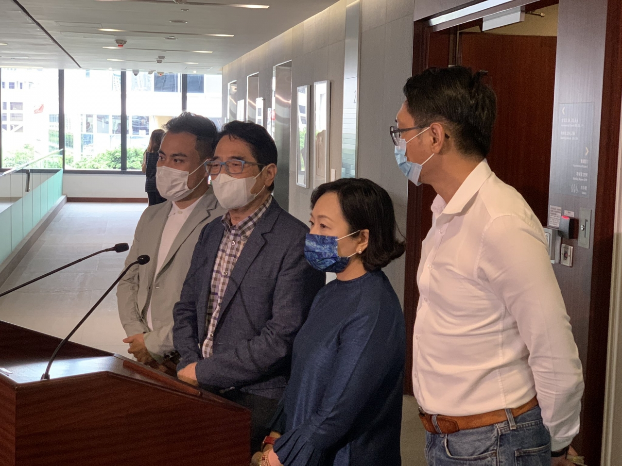 Pro-Beijing lawmakers, including Alice Mak (2nd right) have welcomed the government reshuffle. Photo: RTHK