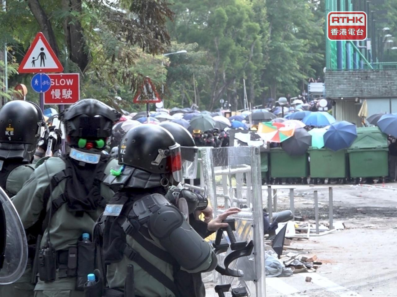 The court heard that around a hundred people clashed with police on a bridge outside the Chinese University campus on November 12, 2019. File photo: RTHK