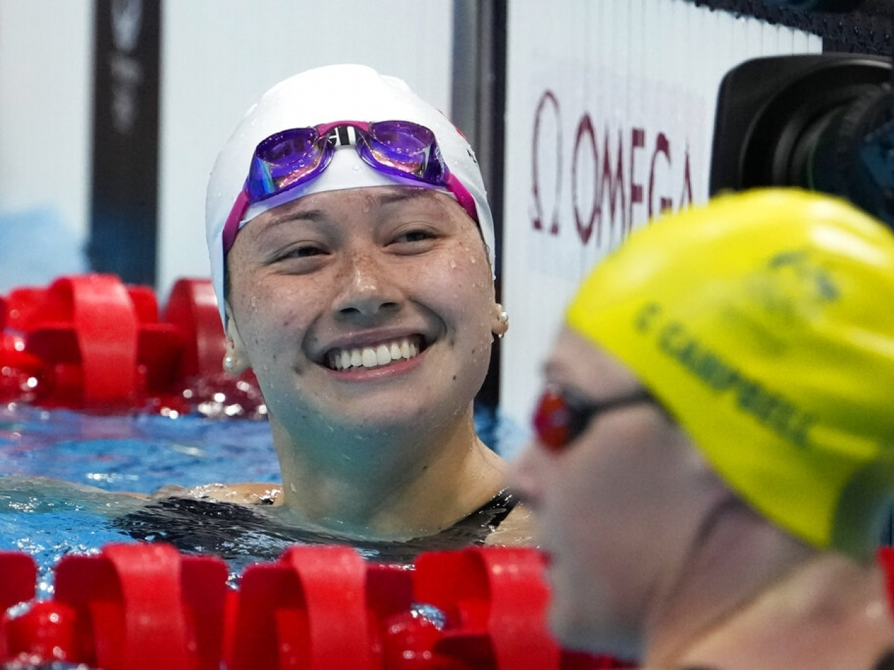 Siobhan Haughey was all smiles after winning her 100-metre freestyle semifinal at the Tokyo Olympics. Photo: AP