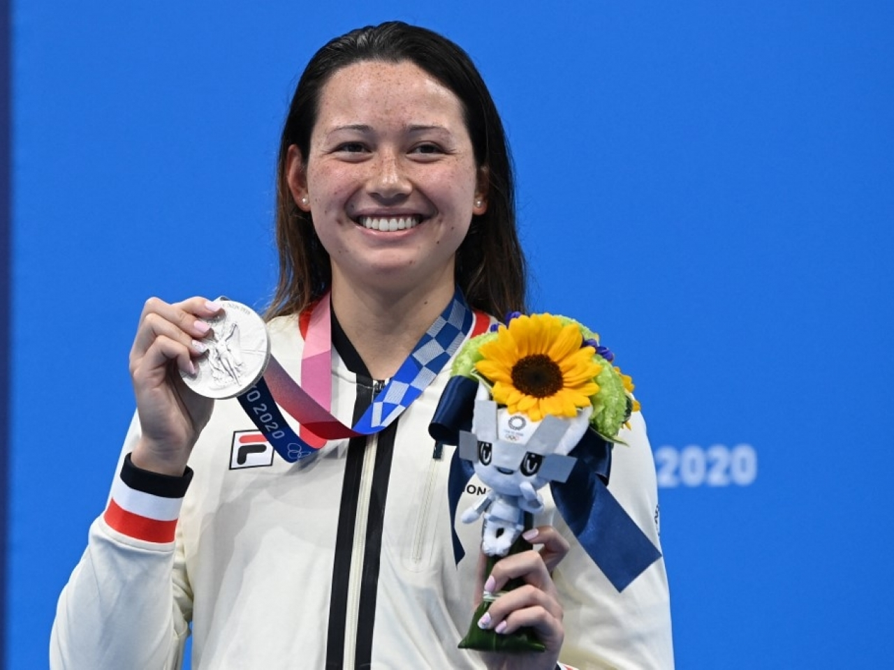 Siobhan Haughey wins her second silver medal in the 100m freestyle, following her success in the 200m event on Wednesday. Photo: AFP