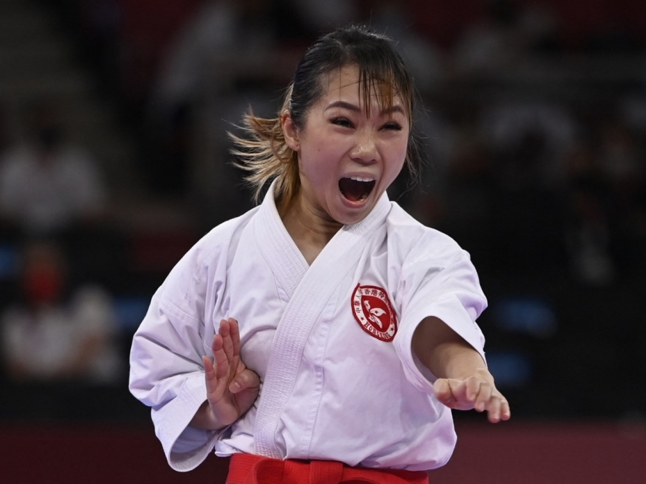Grace Lau performs in the women's kata ranking round of the karate competition in Tokyo. Photo: AFP