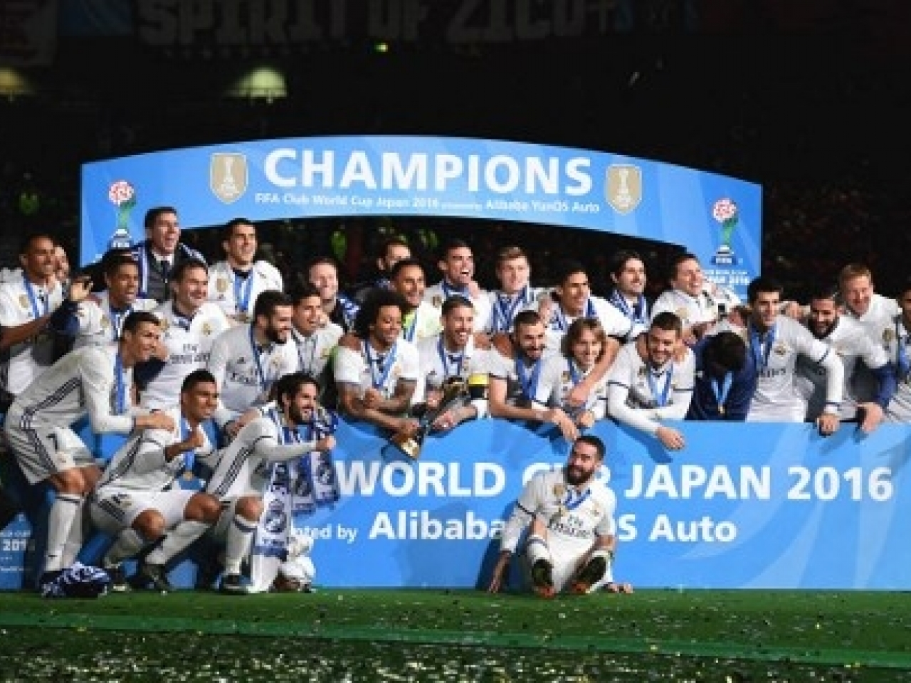 Real Madrid's players celebrate after they beat Kashima Antlers to win the Club World Cup in Japan in 2016. Photo: AFP