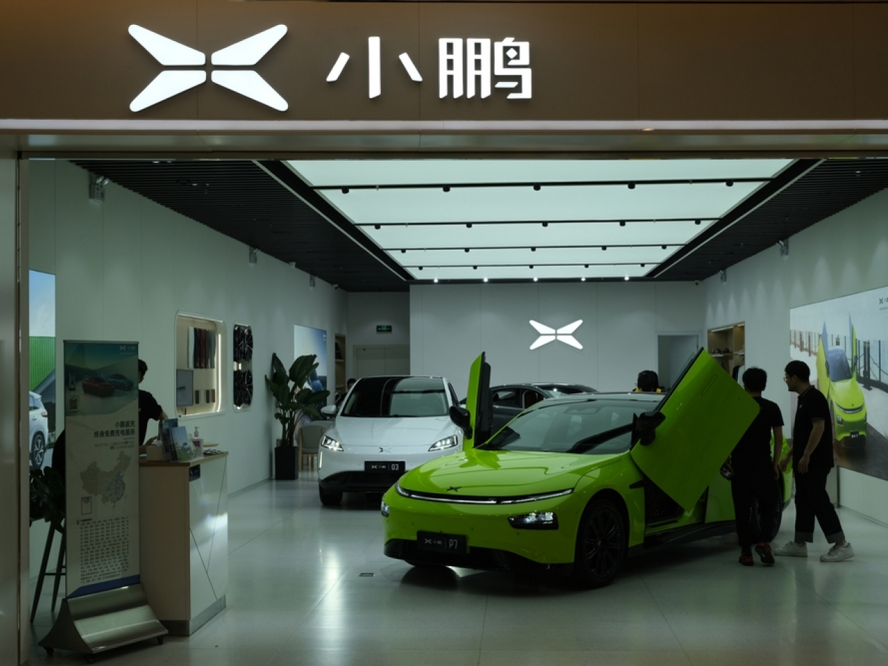 Some of Xpeng's terrestrial cars on display at a showroom in Shanghai. File image: Shutterstock