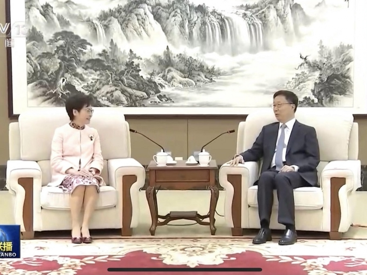 The Chief Executive, Carrie Lam (left), met with the Vice Premier Han Zheng ahead of the Election Committee elections. Photo: supplied
