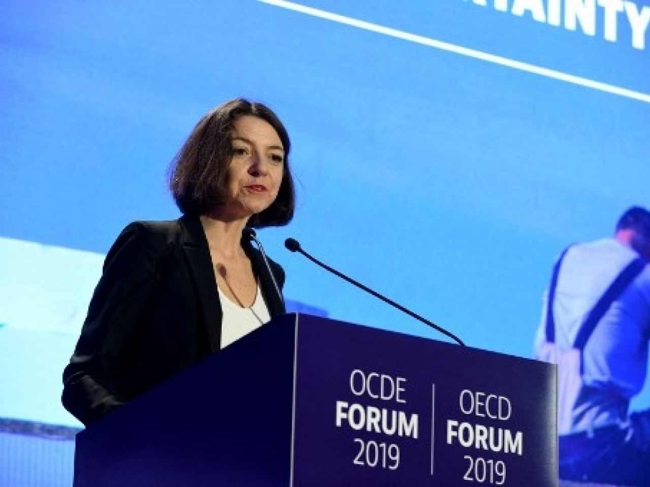 Chief Economist of the OECD, Laurence Boone, delivers a speech as she presents the OECD Economic Outlook. pHOTO: afp